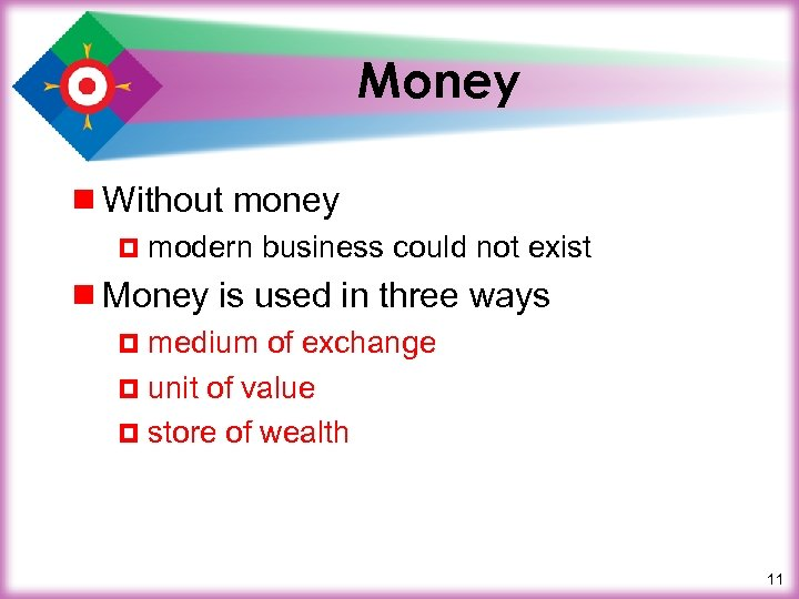Money ¾ Without money ¤ modern business could not exist ¾ Money is used