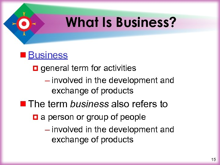 What Is Business? ¾ Business ¤ general term for activities – involved in the