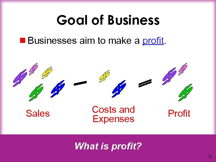 Goal of Business ¾ Businesses aim to make a profit. Sales Costs and Expenses