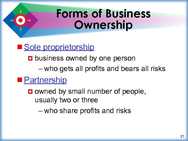 Forms of Business Ownership ¾ Sole proprietorship ¤ business owned by one person –