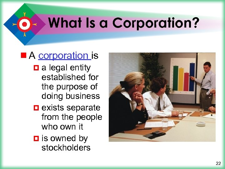 What Is a Corporation? ¾ A corporation is ¤a legal entity established for the