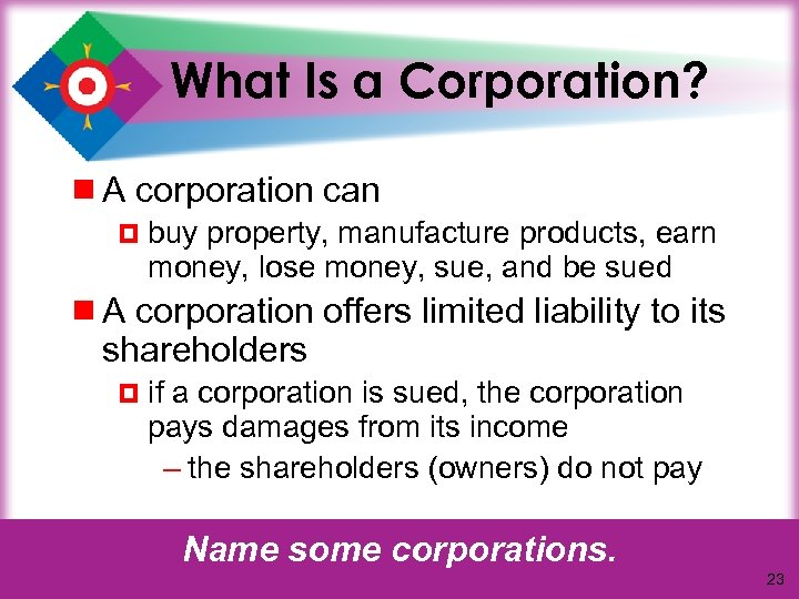 What Is a Corporation? ¾ A corporation can ¤ buy property, manufacture products, earn