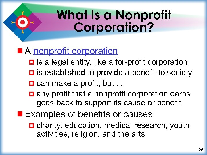 What Is a Nonprofit Corporation? ¾ A nonprofit corporation ¤ is a legal entity,