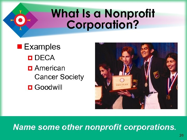 What Is a Nonprofit Corporation? ¾ Examples ¤ DECA ¤ American Cancer Society ¤