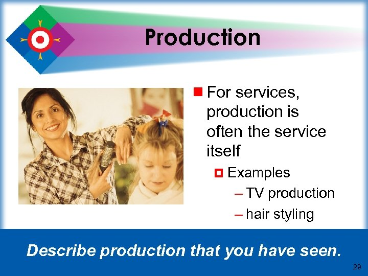 Production ¾ For services, production is often the service itself ¤ Examples – TV