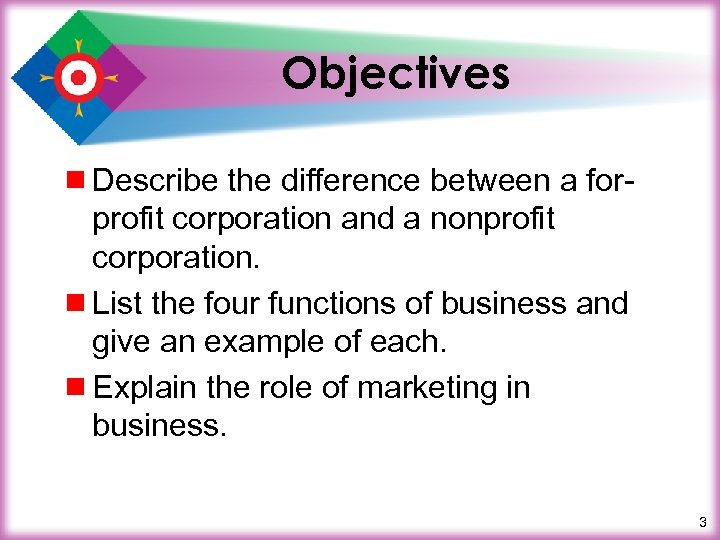 Objectives ¾ Describe the difference between a forprofit corporation and a nonprofit corporation. ¾