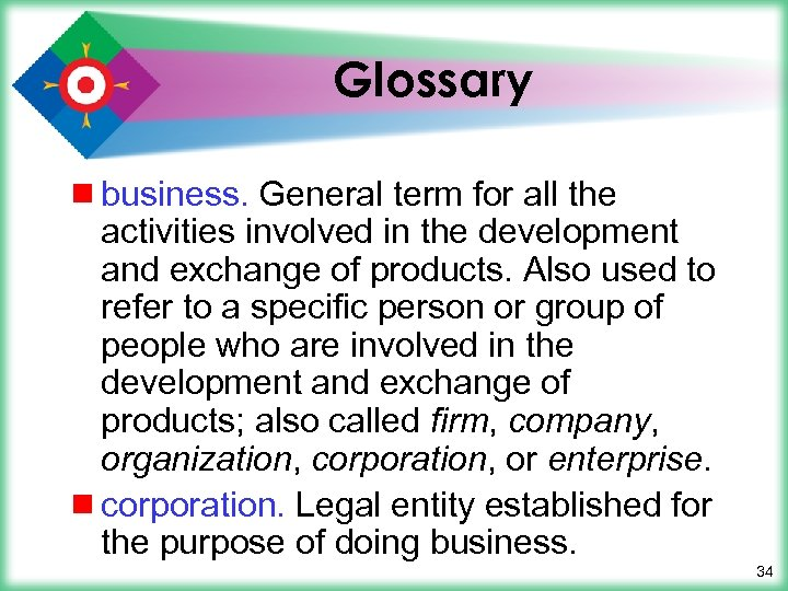 Glossary ¾ business. General term for all the activities involved in the development and