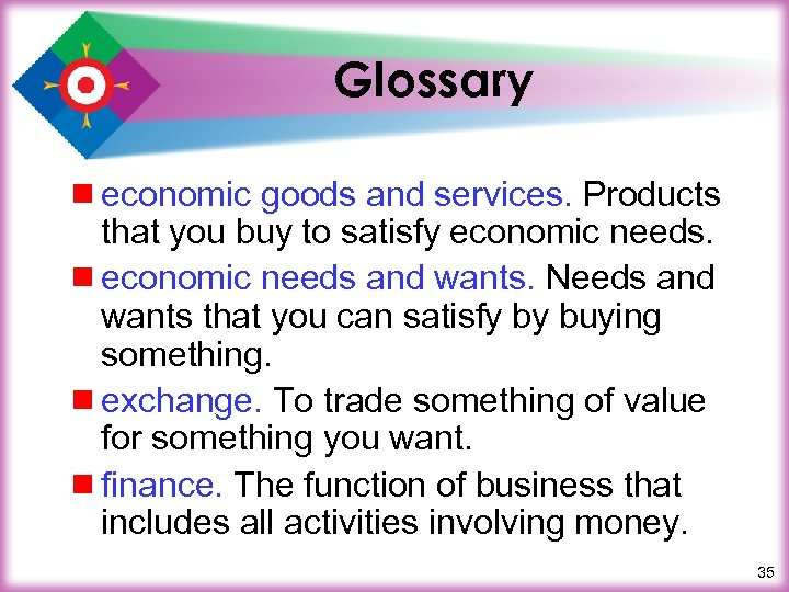 Glossary ¾ economic goods and services. Products that you buy to satisfy economic needs.