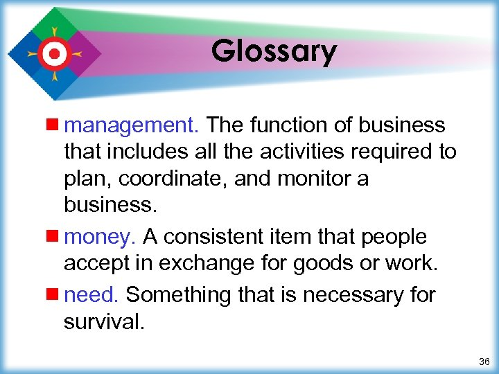 Glossary ¾ management. The function of business that includes all the activities required to