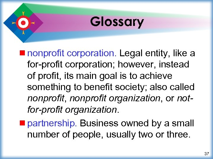 Glossary ¾ nonprofit corporation. Legal entity, like a for-profit corporation; however, instead of profit,