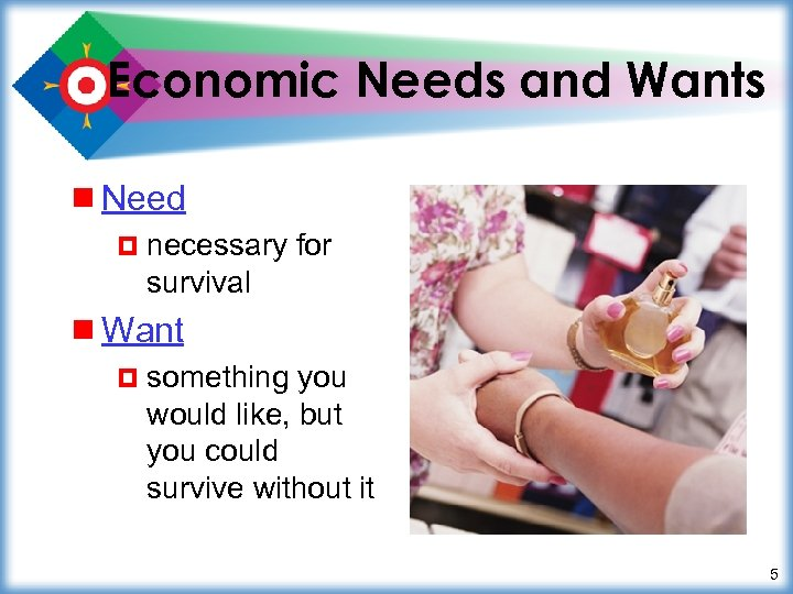 Economic Needs and Wants ¾ Need ¤ necessary for survival ¾ Want ¤ something