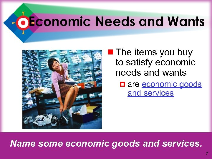 Economic Needs and Wants ¾ The items you buy to satisfy economic needs and