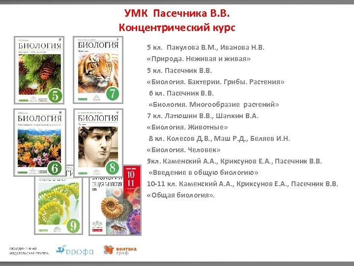 УМК Пасечника В. В. Концентрический курс 5 кл. Пакулова В. М. , Иванова Н.
