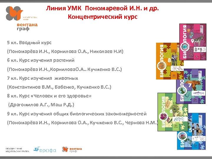 Линия УМК Пономаревой И. Н. и др. Концентрический курс 5 кл. Вводный курс (Пономарёва