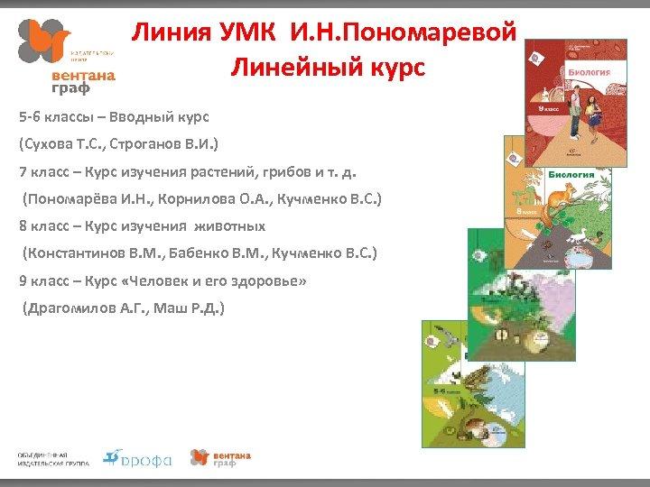 Линия УМК И. Н. Пономаревой Линейный курс 5 -6 классы – Вводный курс (Сухова