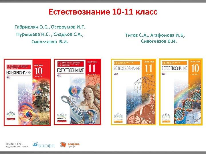 Естествознание 10 -11 класс Габриелян О. С. , Остроумов И. Г. Пурышева Н. С.