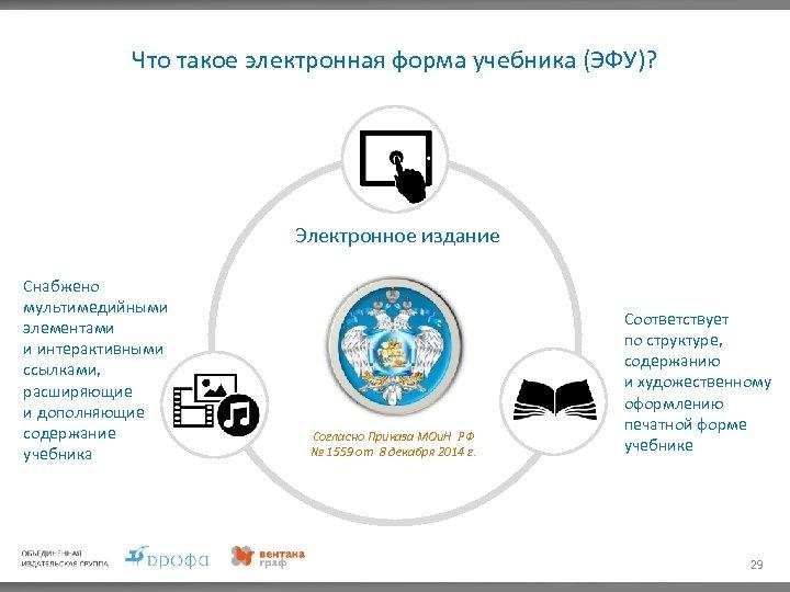 Что такое электронная форма учебника (ЭФУ)? Электронное издание Снабжено мультимедийными элементами и интерактивными ссылками,