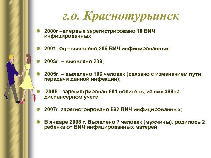 г. о. Краснотурьинск l 2000 г –впервые зарегистрировано 10 ВИЧ инфицированных; l 2001 год
