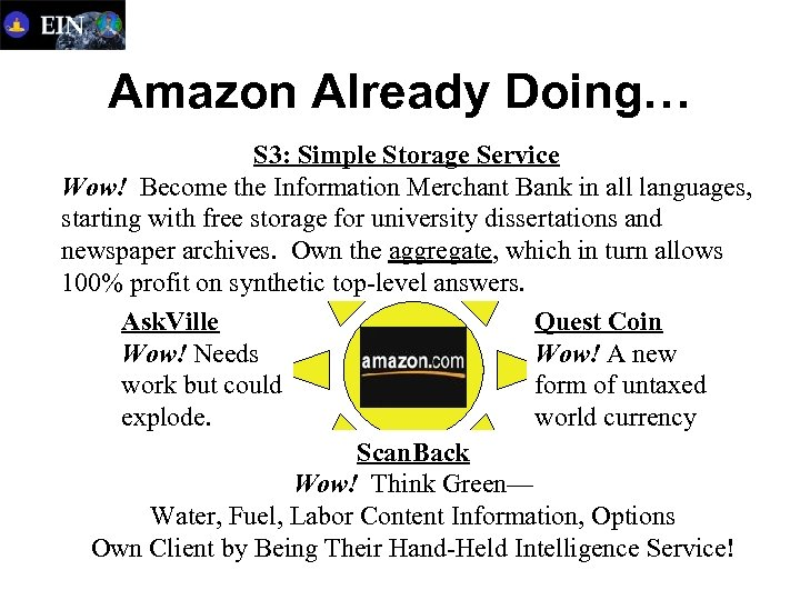 Amazon Already Doing… S 3: Simple Storage Service Wow! Become the Information Merchant Bank