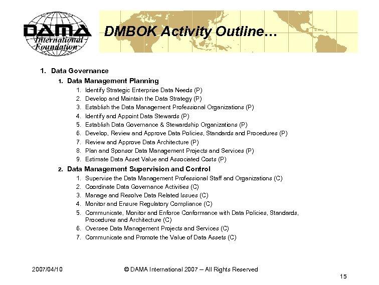 DMBOK Activity Outline… 1. Data Governance 1. Data Management Planning 1. 2. 3. 4.