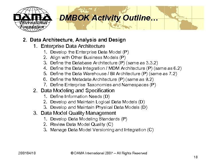 DMBOK Activity Outline… 2. Data Architecture, Analysis and Design 1. Enterprise Data Architecture 1.