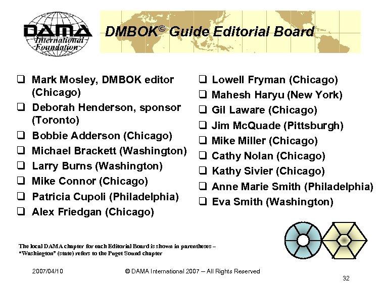 DMBOK© Guide Editorial Board q Mark Mosley, DMBOK editor (Chicago) q Deborah Henderson, sponsor