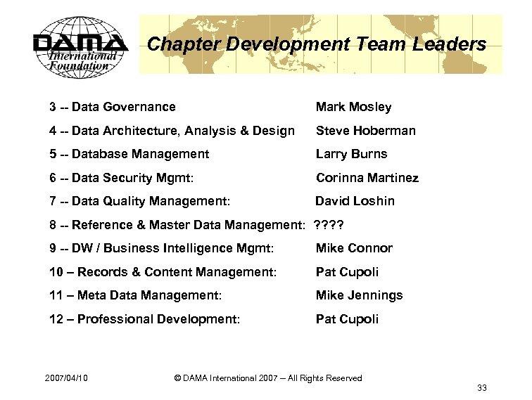 Chapter Development Team Leaders 3 -- Data Governance Mark Mosley 4 -- Data Architecture,
