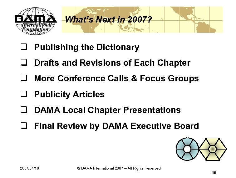 What's Next in 2007? q Publishing the Dictionary q Drafts and Revisions of Each