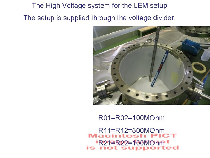 The High Voltage system for the LEM setup The setup is supplied through the