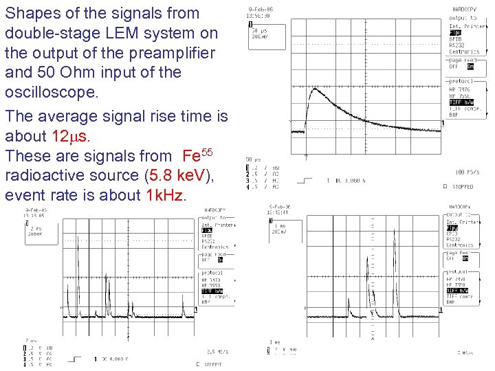 Shapes of the signals from double-stage LEM system on the output of the preamplifier
