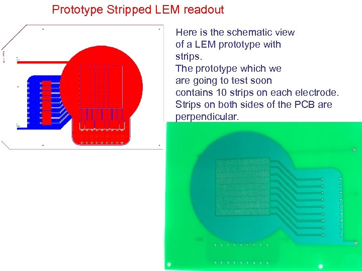 Prototype Stripped LEM readout Here is the schematic view of a LEM prototype with