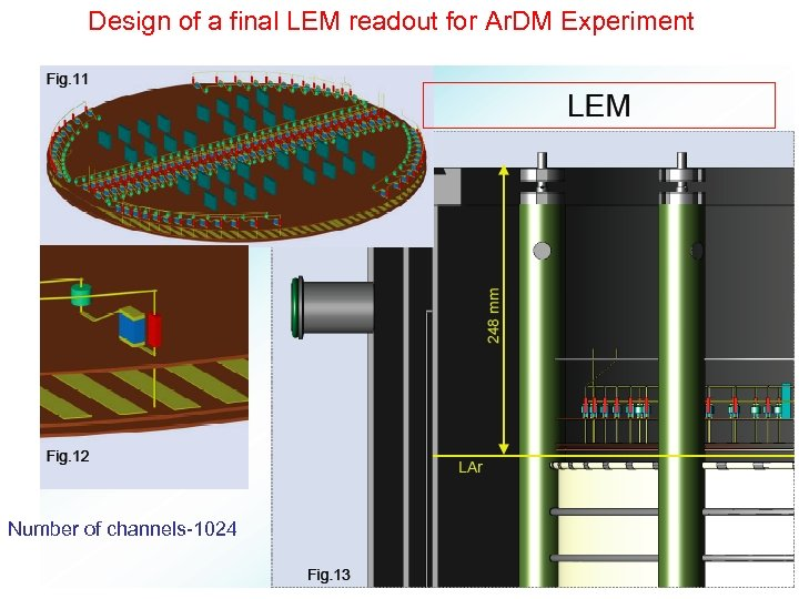 Design of a final LEM readout for Ar. DM Experiment Number of channels-1024