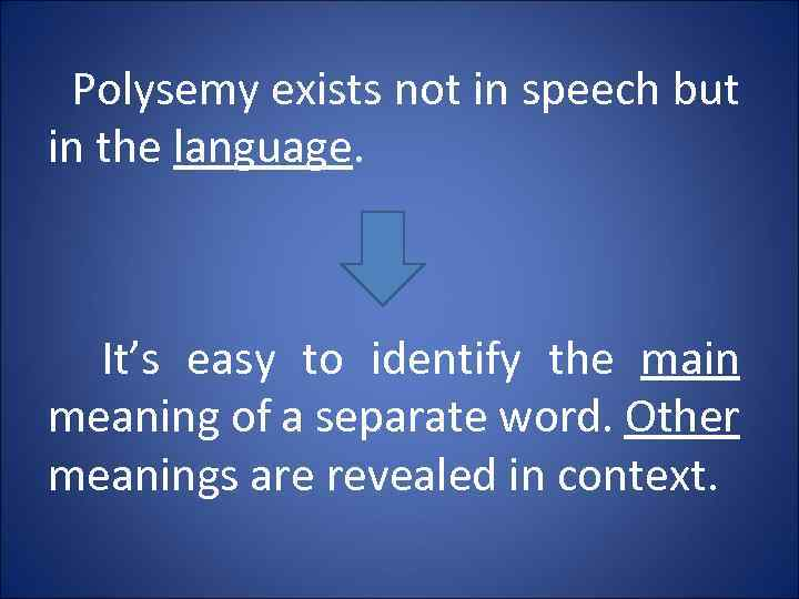 Polysemy exists not in speech but in the language. It's easy to identify the