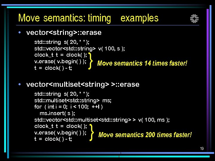 Move semantics: timing examples f • vector<string>: : erase std: : string s( 20,