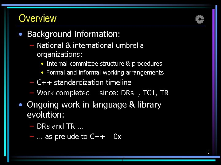 Overview f • Background information: – National & international umbrella organizations: • Internal committee