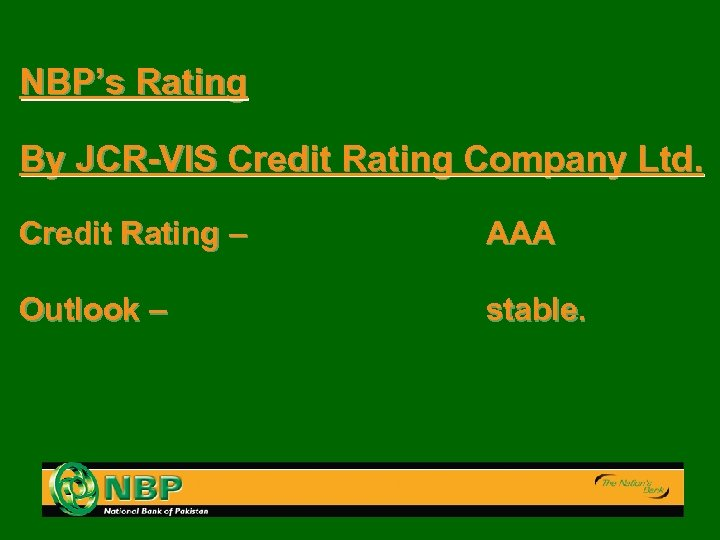 NBP's Rating By JCR-VIS Credit Rating Company Ltd. Credit Rating – AAA Outlook –