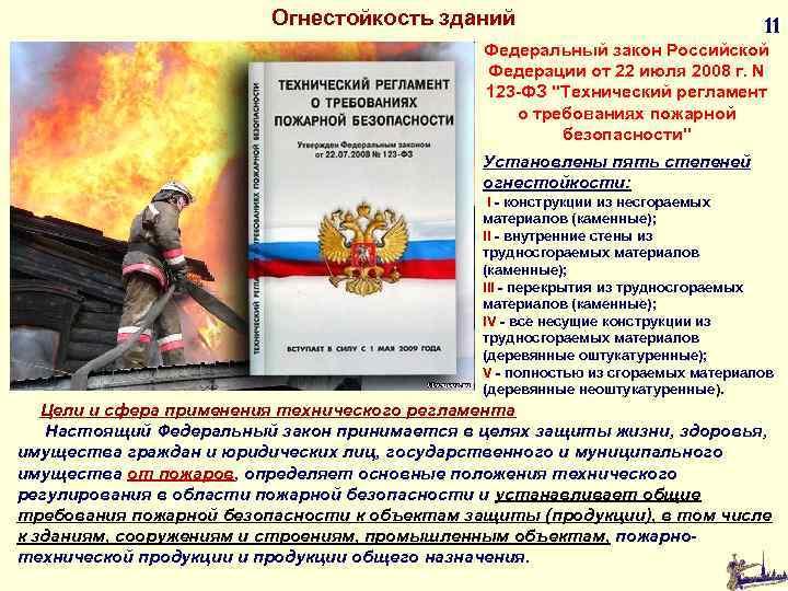 Огнестойкость зданий 11 Федеральный закон Российской Федерации от 22 июля 2008 г. N 123
