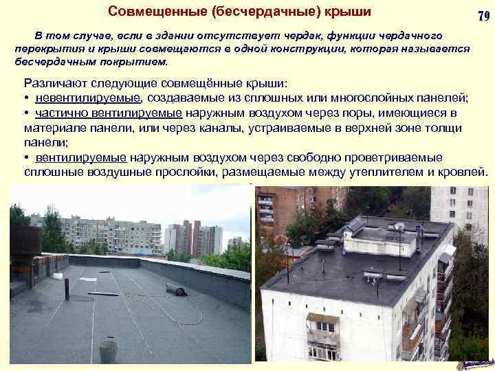 Совмещенные (бесчердачные) крыши 79 В том случае, если в здании отсутствует чердак, функции чердачного