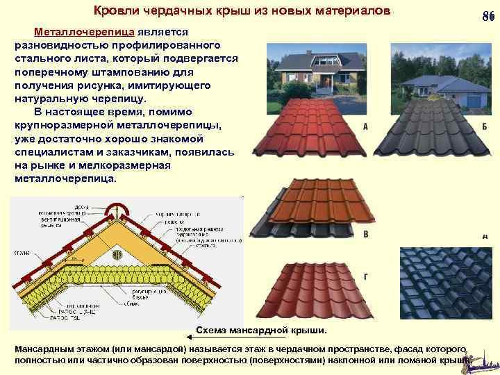 Кровли чердачных крыш из новых материалов Металлочерепица является разновидностью профилированного стального листа, который подвергается