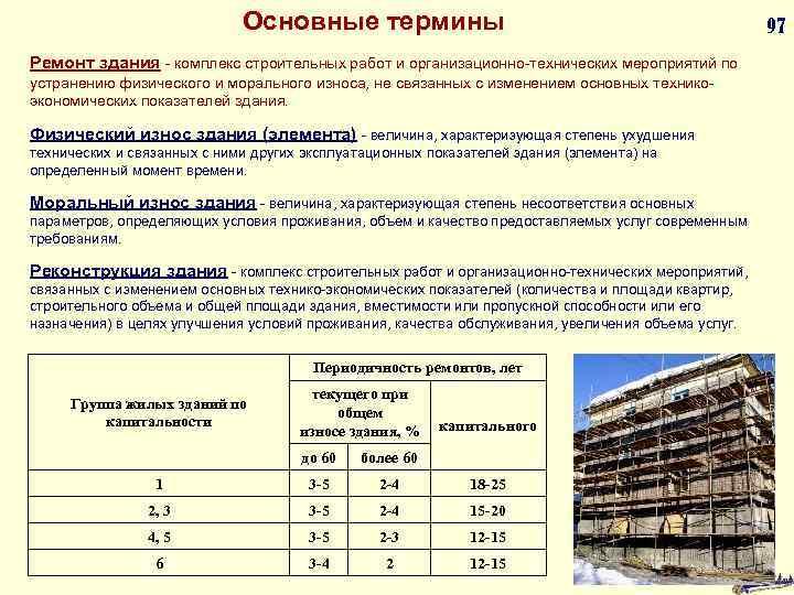 Основные термины Ремонт здания - комплекс строительных работ и организационно-технических мероприятий по устранению физического