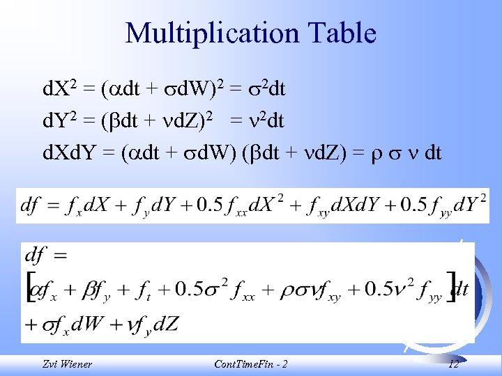 Multiplication Table d. X 2 = ( dt + d. W)2 = 2 dt