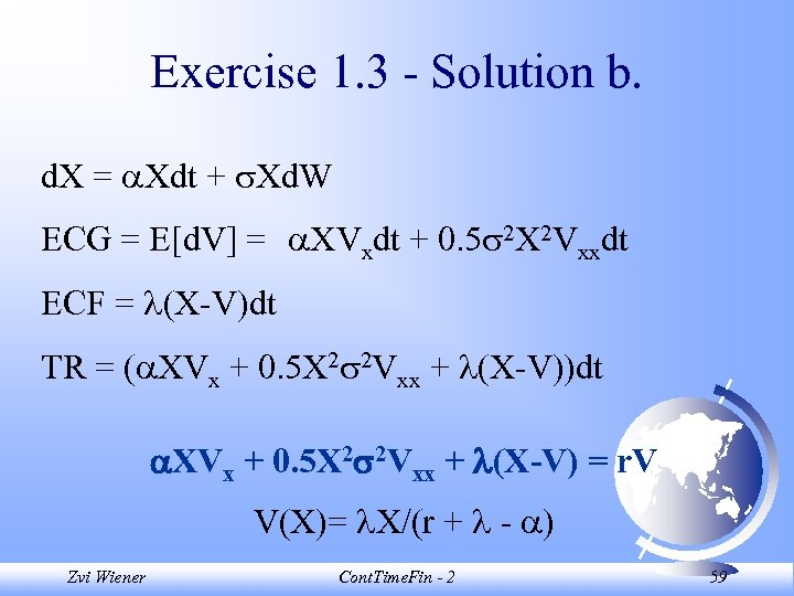 Exercise 1. 3 - Solution b. d. X = Xdt + Xd. W ECG