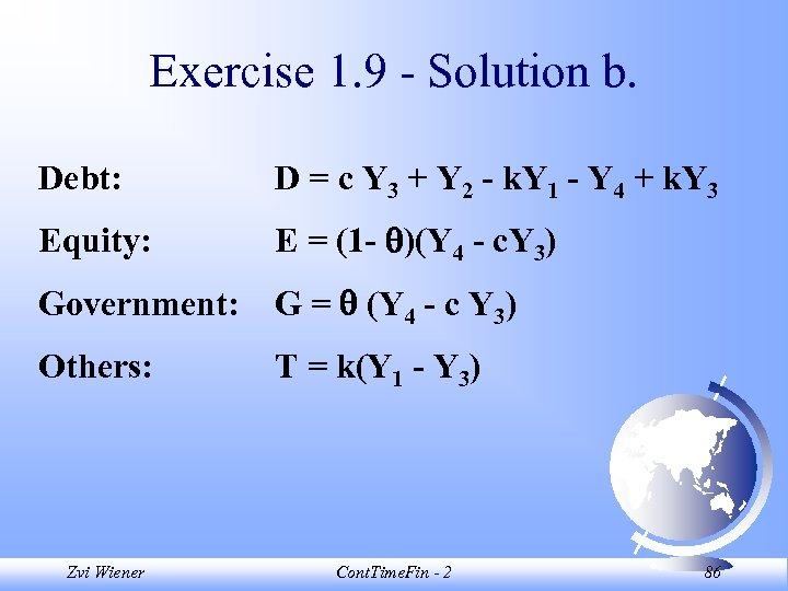 Exercise 1. 9 - Solution b. Debt: D = c Y 3 + Y