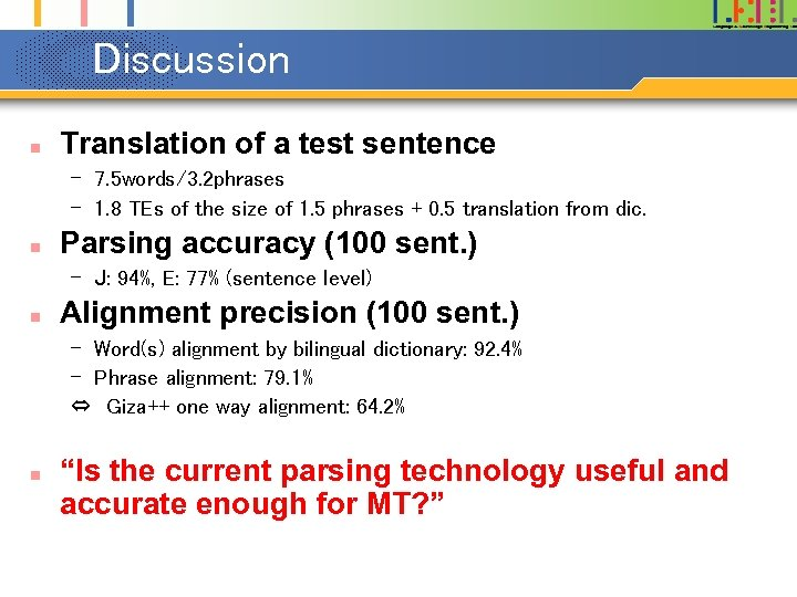 Discussion n Translation of a test sentence – 7. 5 words/3. 2 phrases –