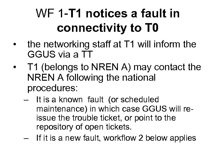 WF 1 -T 1 notices a fault in connectivity to T 0 • •