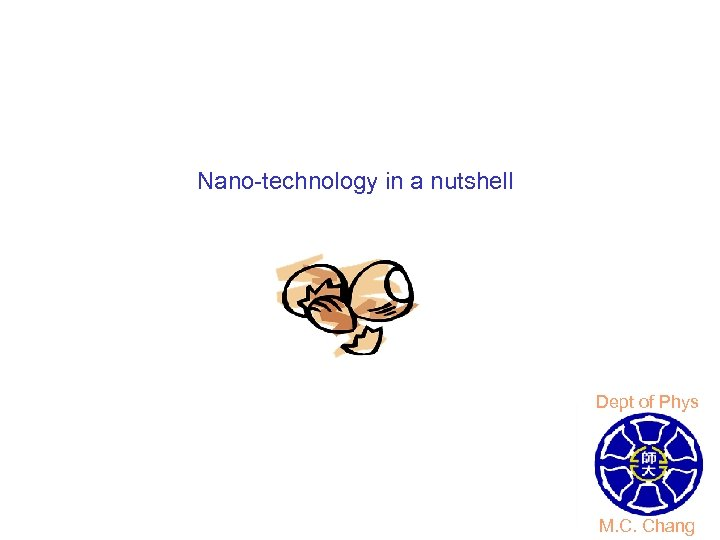 Nano-technology in a nutshell Dept of Phys M. C. Chang