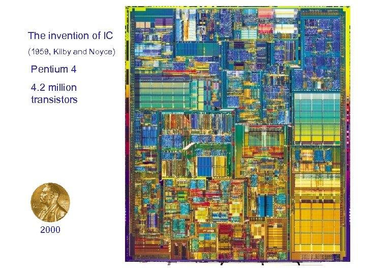 The invention of IC (1959, Kilby and Noyce) Intel 40044(1971) Pentium 2250 transistors 4.
