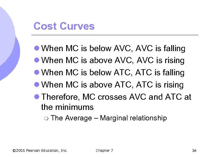 Cost Curves l When MC is below AVC, AVC is falling l When MC