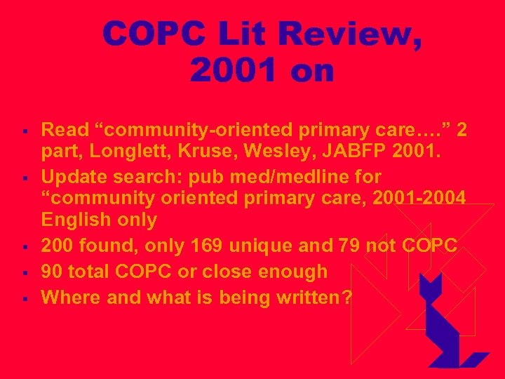 """COPC Lit Review, 2001 on § § § Read """"community-oriented primary care…. """" 2"""