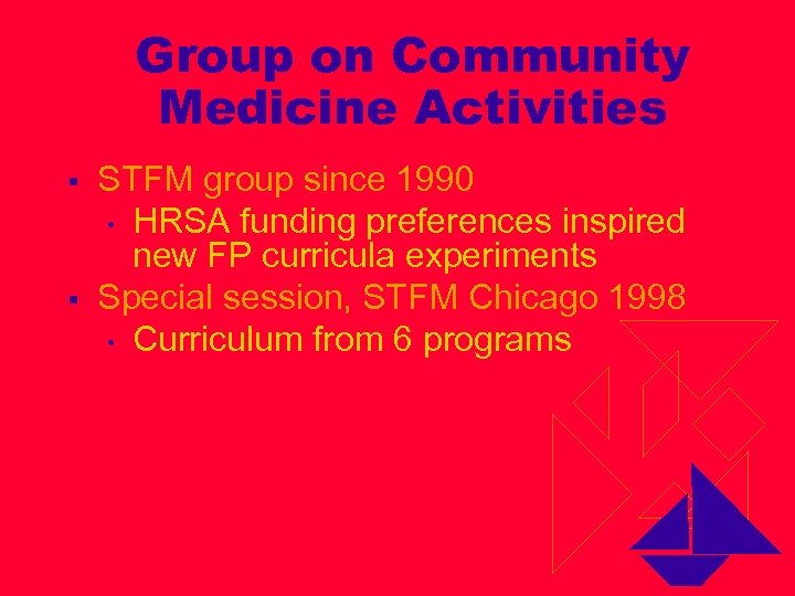 Group on Community Medicine Activities § § STFM group since 1990 • HRSA funding